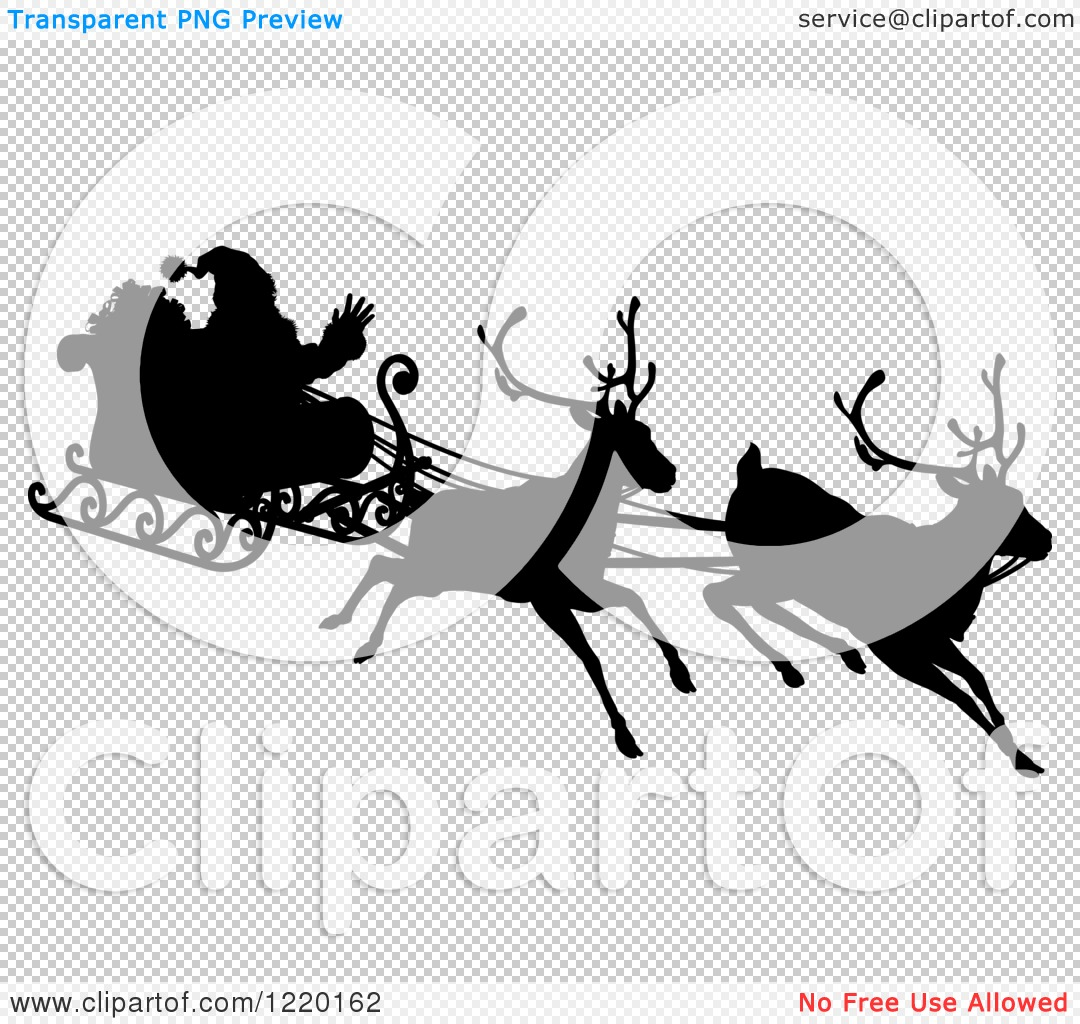 Clipart of a Black Silhouette of Santa Waving and Flying in a ...