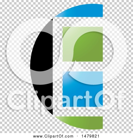 Clipart Of A Black White Blue And Green Window Abstract Letter E