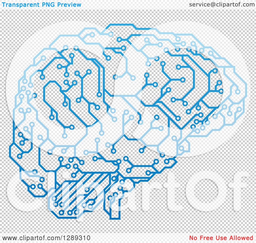 Clipart Of A Blue Artificial Intelligence Circuit Board Brain Vector Illustration Royalty Free Stock Image File Has