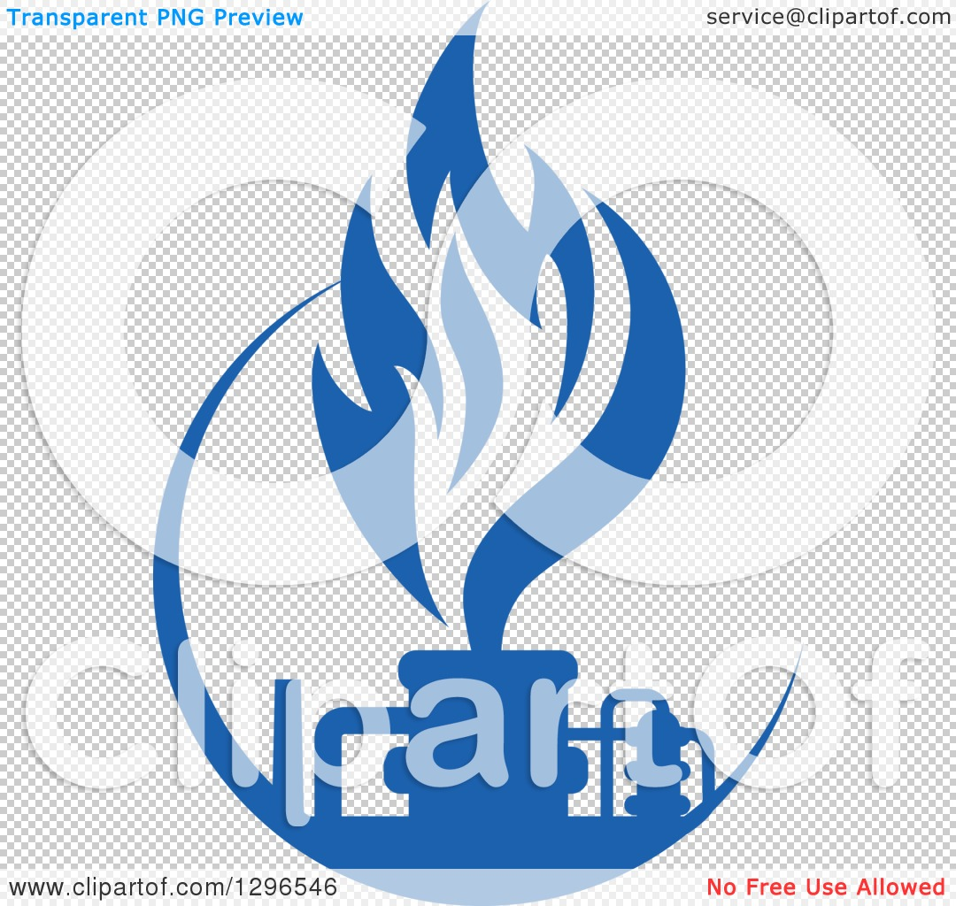 Clipart of a Blue Natural Gas and Flame Design - Royalty Free ...