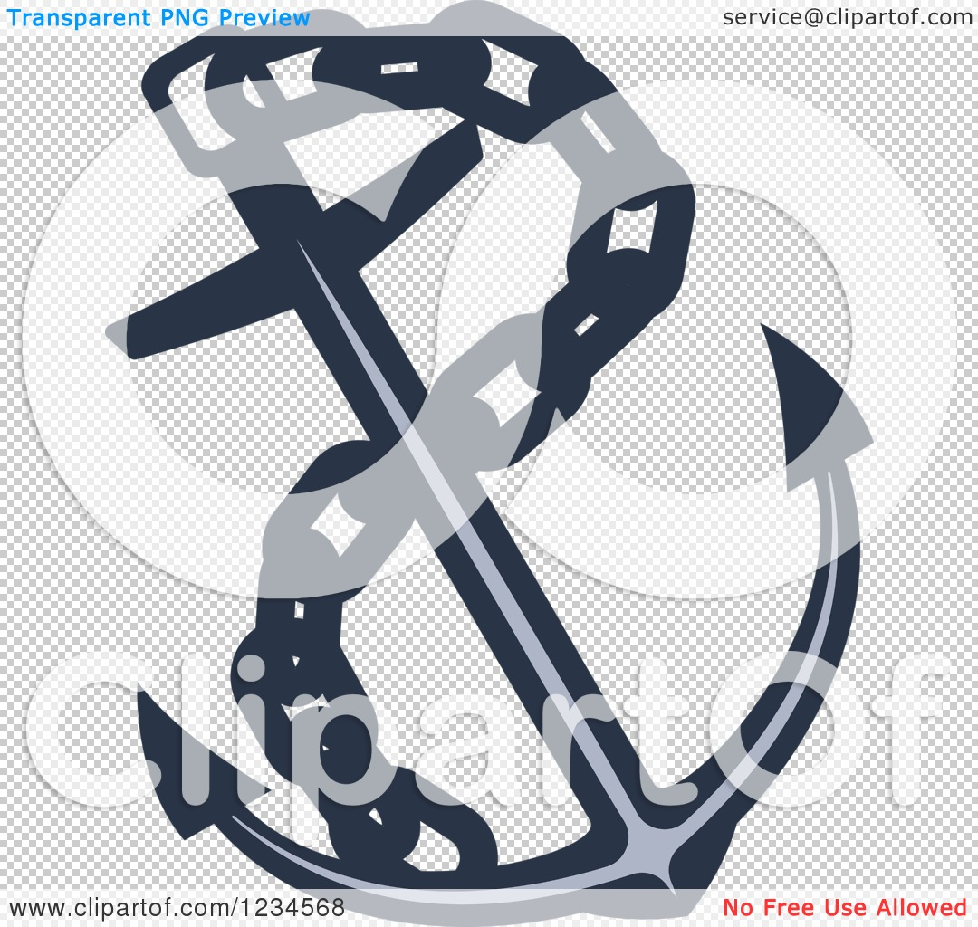 Clipart of a Blue Nautical Anchor and Chain - Royalty Free Vector ...