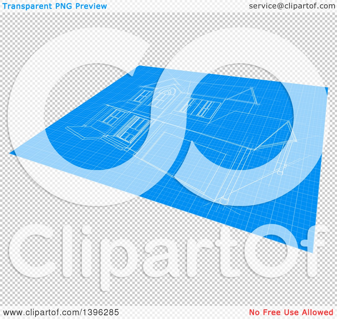 Clipart of a blueprint with a home design royalty free vector png file has a malvernweather Image collections