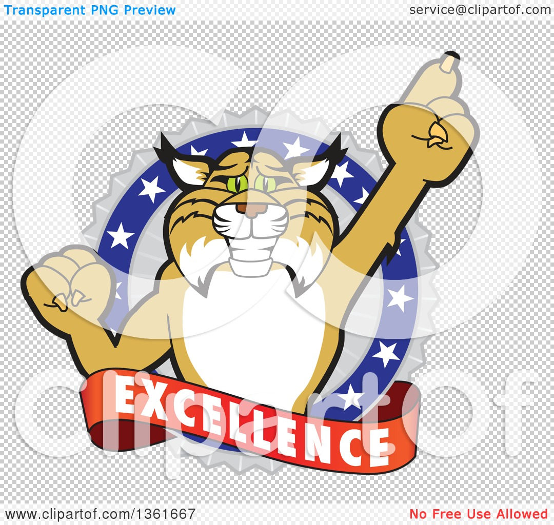 Clipart of a Bobcat School Mascot Character Holding up a Finger in ...