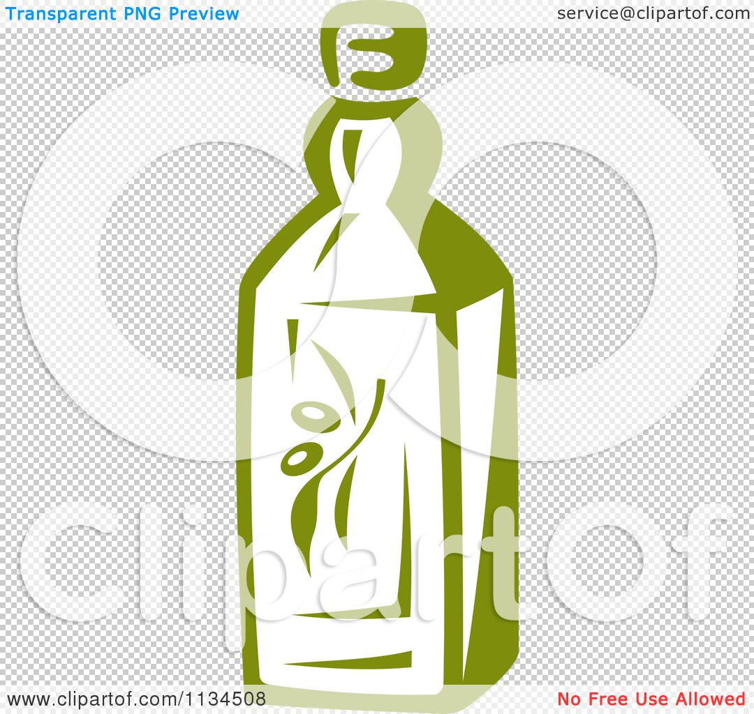 Clipart Of A Bottle Of Olive Oil 1 - Royalty Free Vector ...