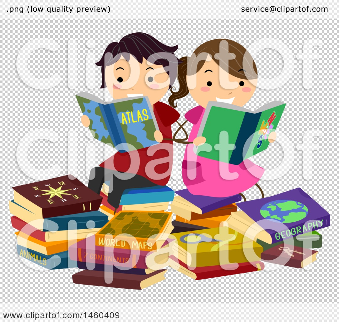 b7799c6e4e8 Clipart of a Boy and Girl Reading Geography Books - Royalty Free ...