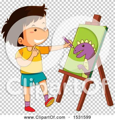Clipart Of A Boy Coloring Dinosaur On An Easel