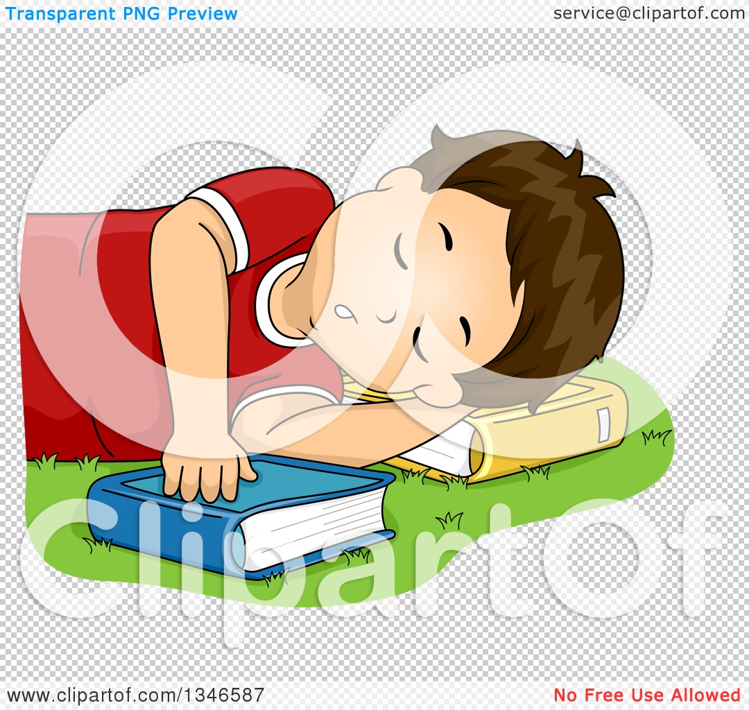 Clipart of a Brunette Caucasian Boy Sleeping on a Lawn and Using a ...