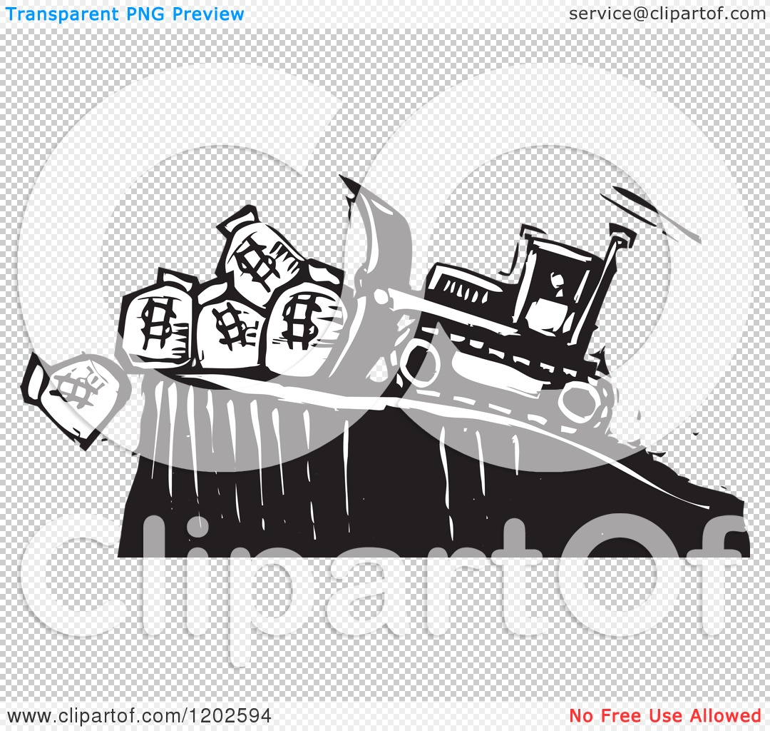 clipart of a bulldozer pushing money bags off of a cliff black and white woodcut royalty free. Black Bedroom Furniture Sets. Home Design Ideas