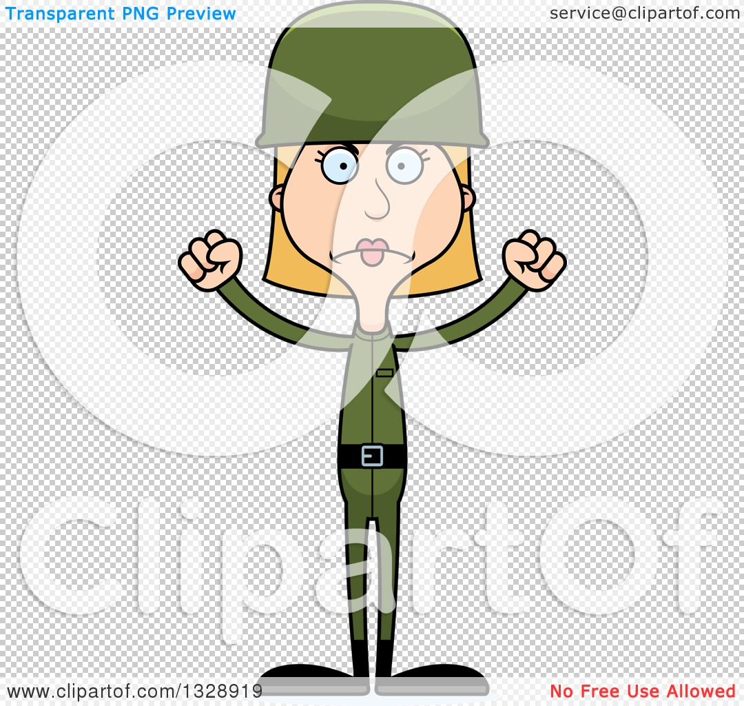 Clipart of a Cartoon Angry Tall Skinny White Army Soldier Woman ...