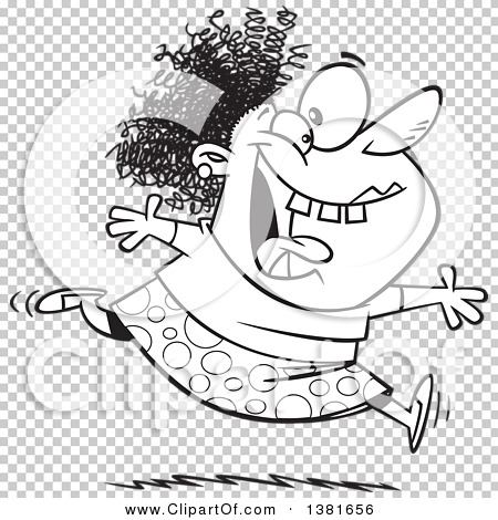 Clipart of a Cartoon Black and White Crazy Woman Running and ...
