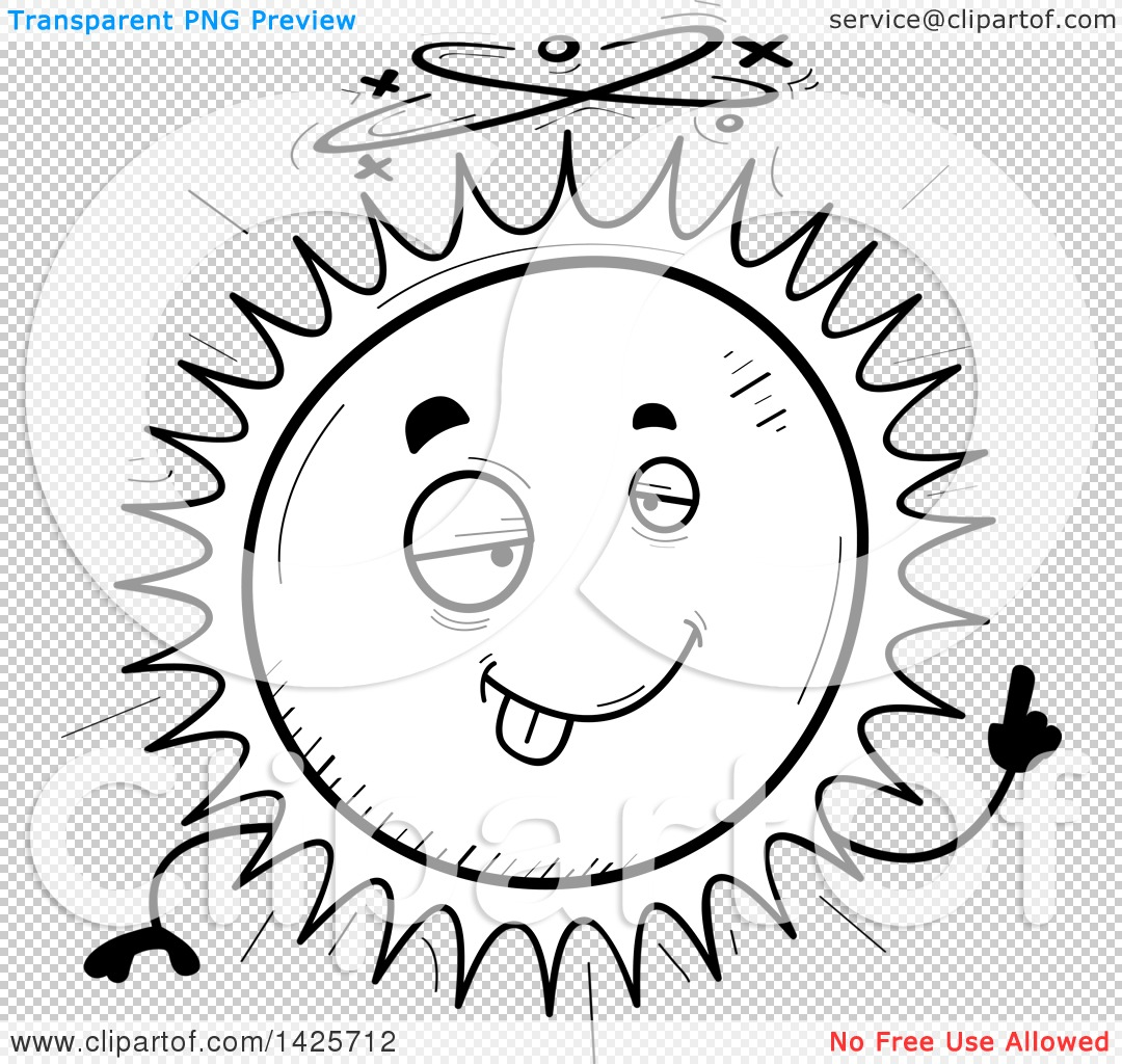 Clipart of a Cartoon Black and White Doodled Drunk Sun Character - Royalty Free Vector ...