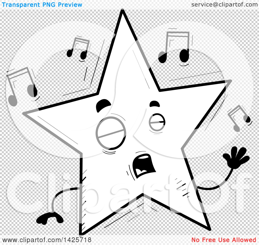 Clipart of a Cartoon Black and White Doodled Singing Star ...