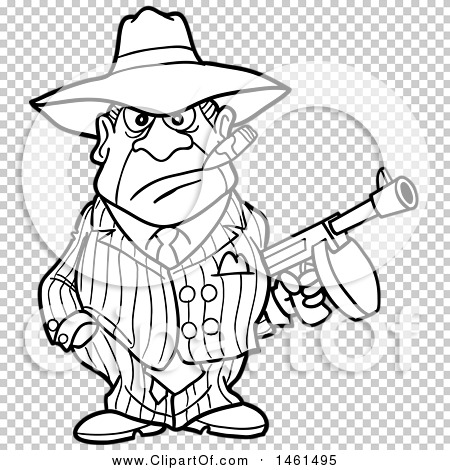 clipart of a cartoon black and white gangter holding a tommy gun royalty free vector. Black Bedroom Furniture Sets. Home Design Ideas