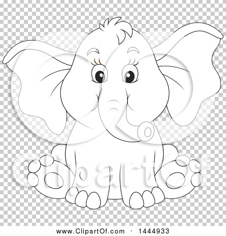 Baby Elephant Cartoon Black And White