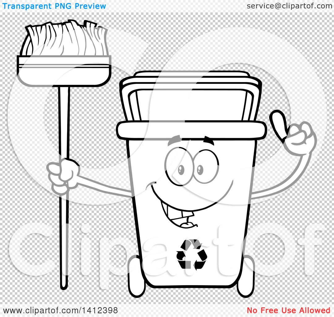 Clipart of a Cartoon Black and White Lineart Recycle Bin Character ...