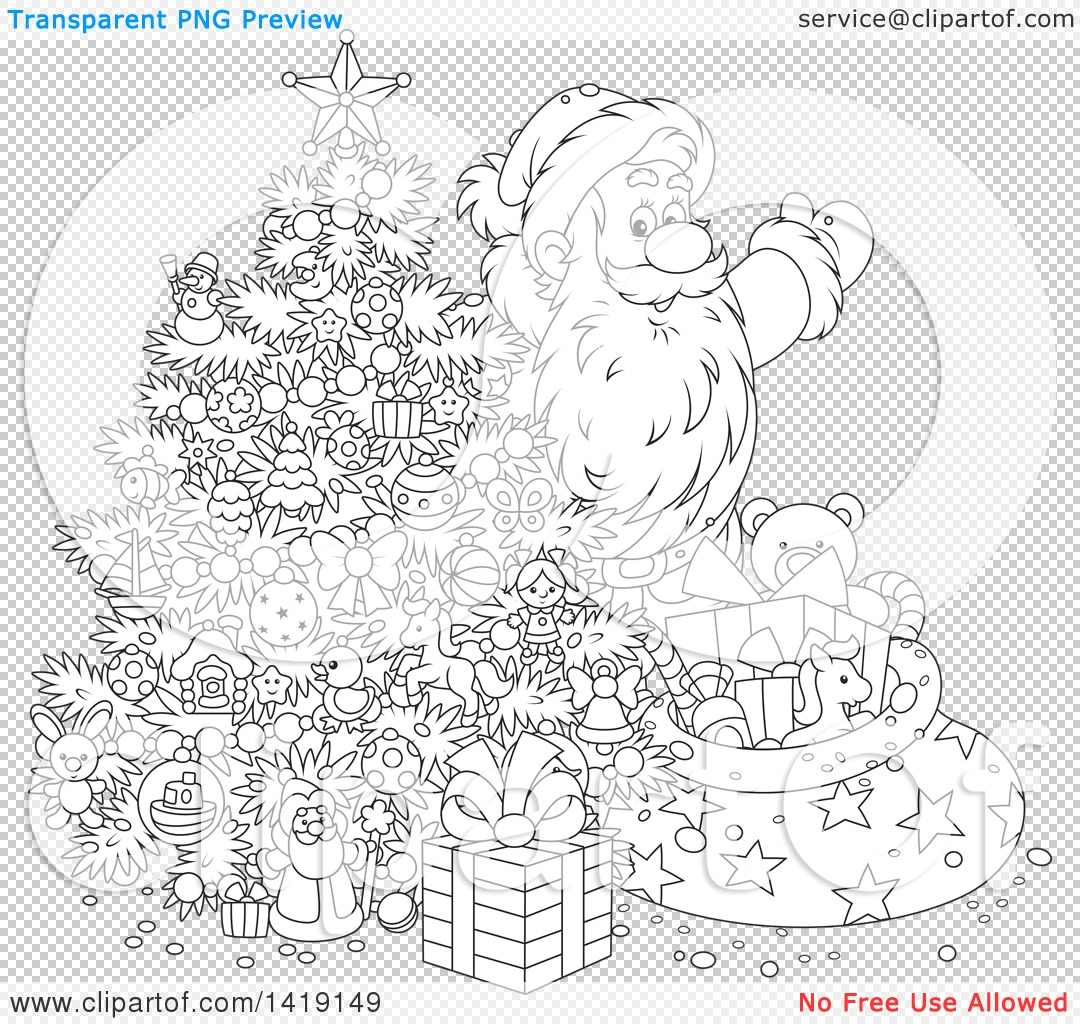 clipart of a cartoon black and white lineart santa claus putting