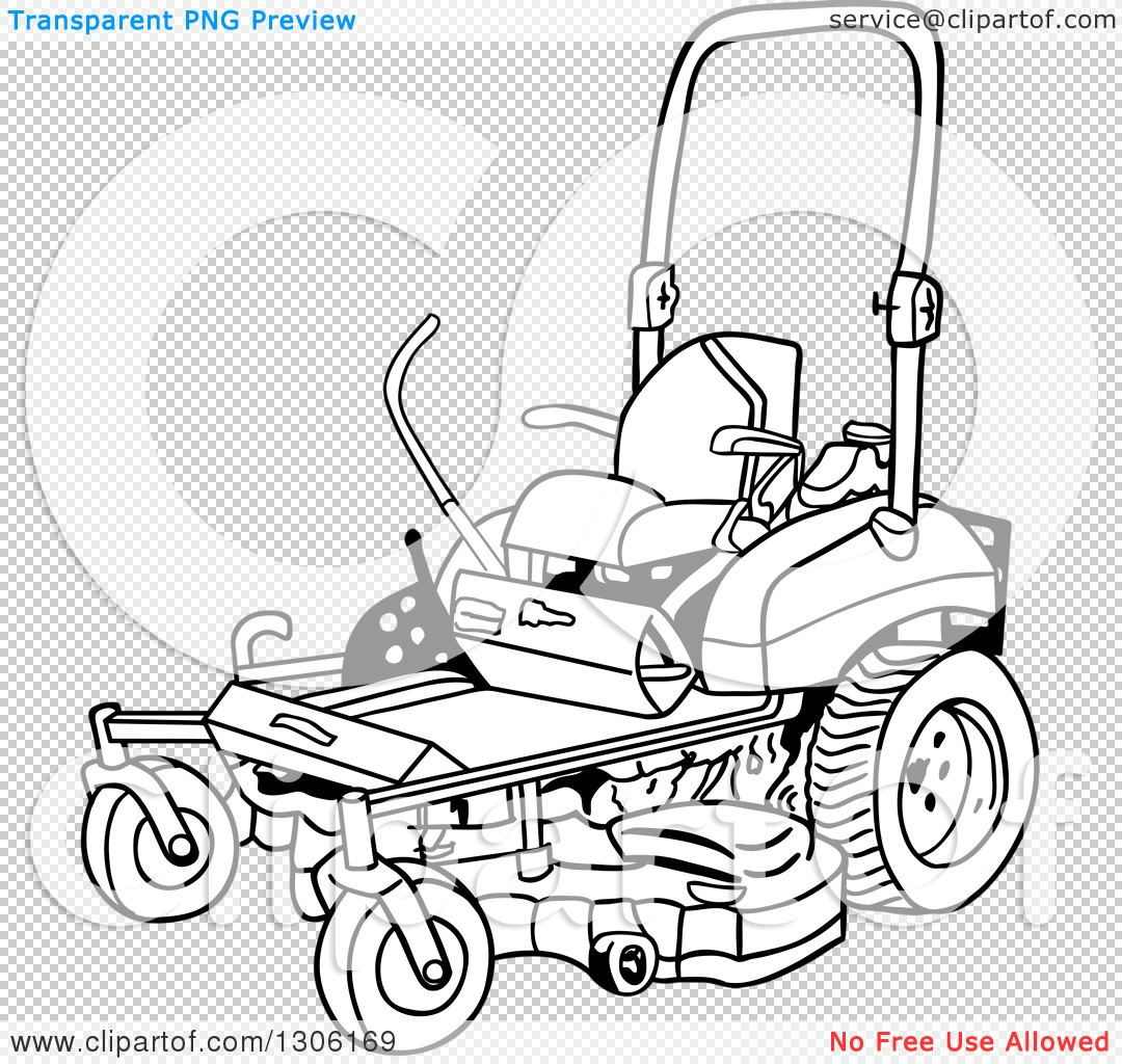 Clipart of a Cartoon Black and White Ride on Lawn Mower ...