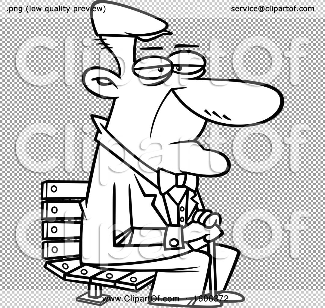 Strange Clipart Of A Cartoon Black And White Senior Man Sitting On A Machost Co Dining Chair Design Ideas Machostcouk
