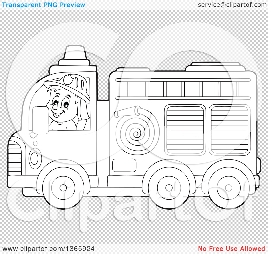 Clipart of a Cartoon Black and White White Male Fireman Driving a ...