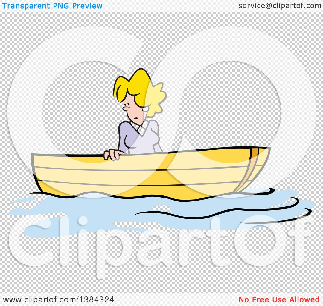 Clipart of a Cartoon Blond White Woman Stuck up a Creek Without a ...