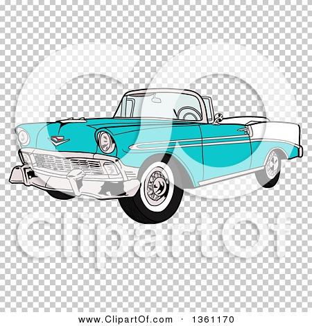 Clipart Of A Cartoon Blue 1956 Chevrolet Bel Air Classic Convertible