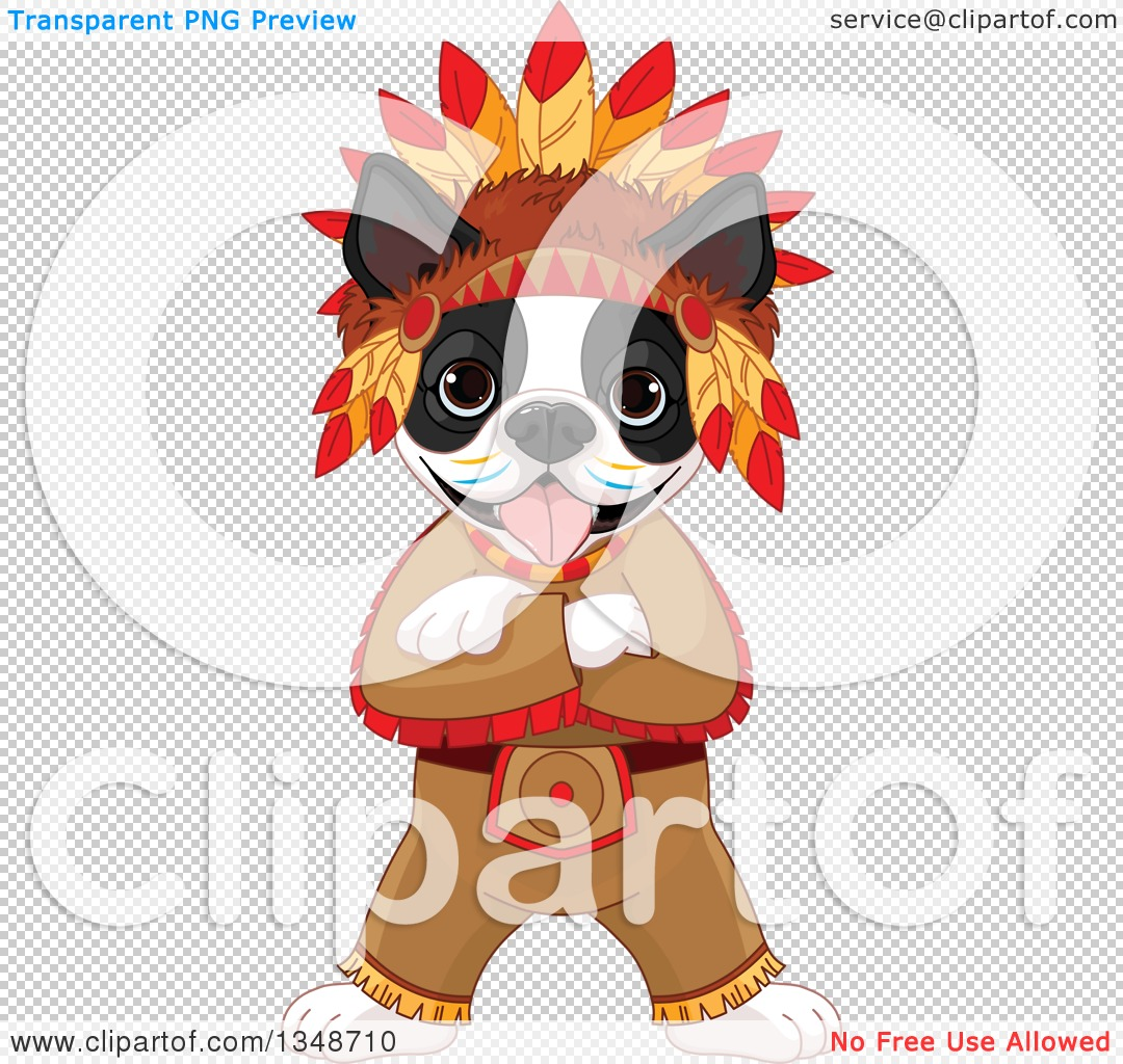 Clipart of a Cartoon Cute Native American Indian Boston Terrier ...