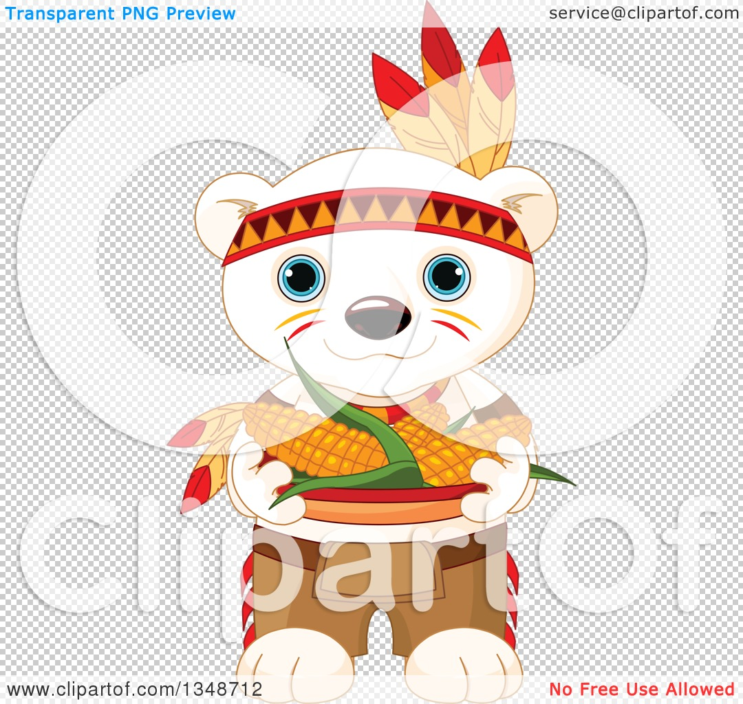 Clipart of a Cartoon Cute Native American Indian Polar Bear Cub ...