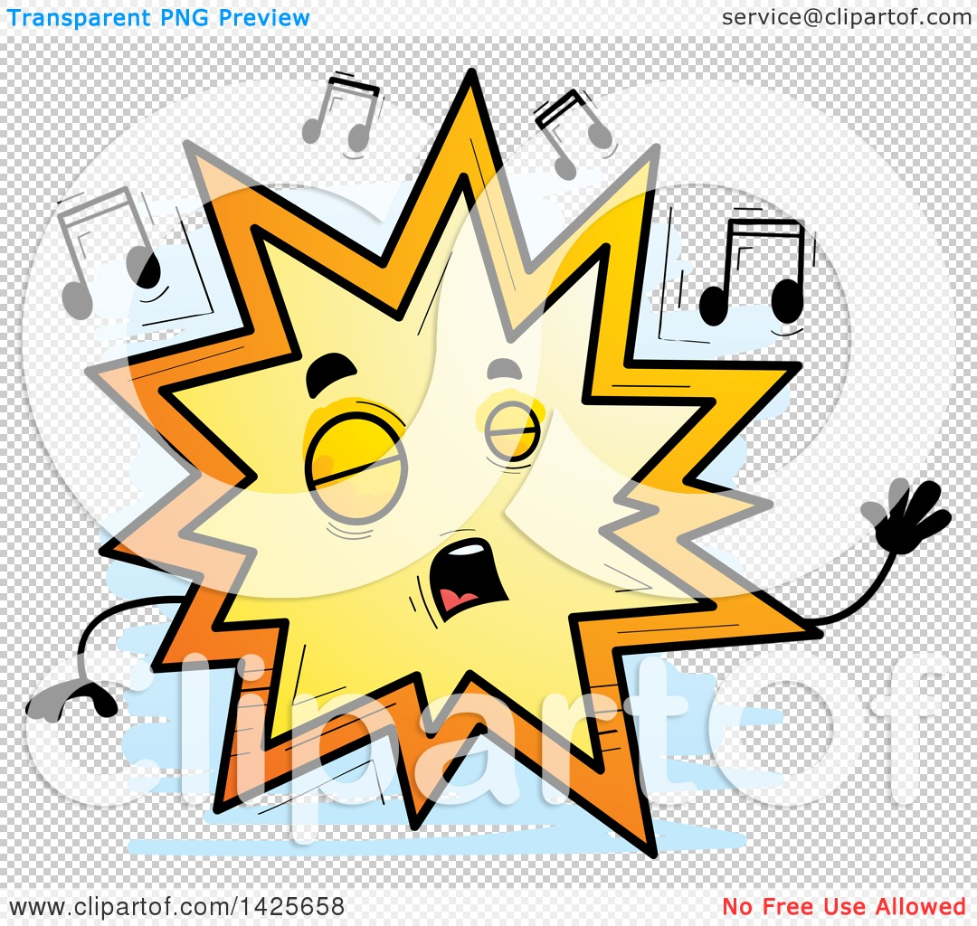 Clipart of a Cartoon Doodled Singing Explosion Character ...