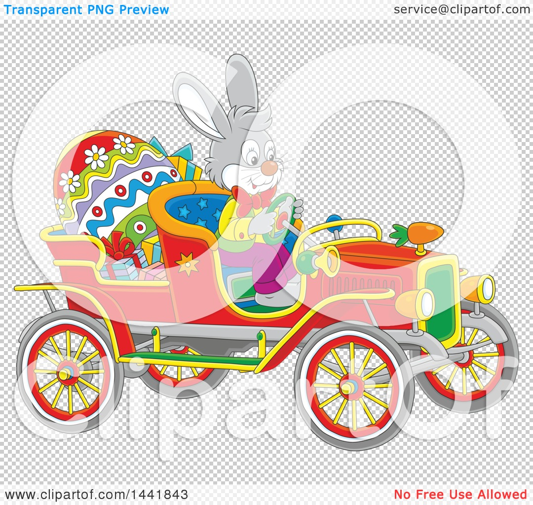 Easter Bunny Reese S Egg Cars: Clipart Of A Cartoon Easter Bunny Rabbit Driving A Vintage