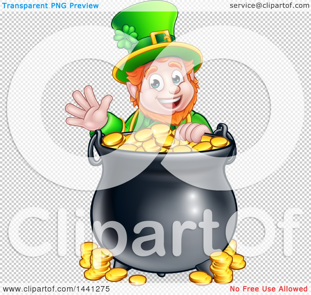 clipart of a cartoon friendly st patricks day leprechaun waving