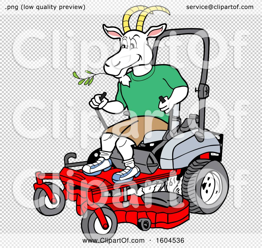Clipart Of A Cartoon Goat On A Zero Turn Lawn Mower Royalty Free Vector Illustration By Lafftoon 1604536