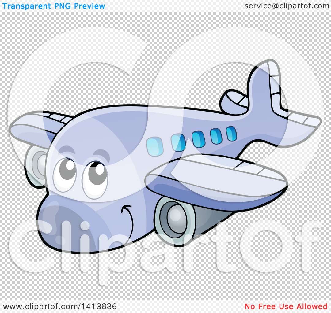 clipart of a cartoon happy airplane character royalty free