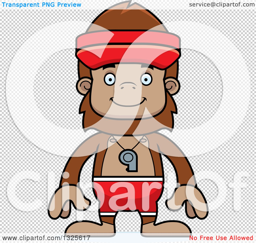 Clipart of a Cartoon Happy Bigfoot Lifeguard - Royalty Free Vector ...