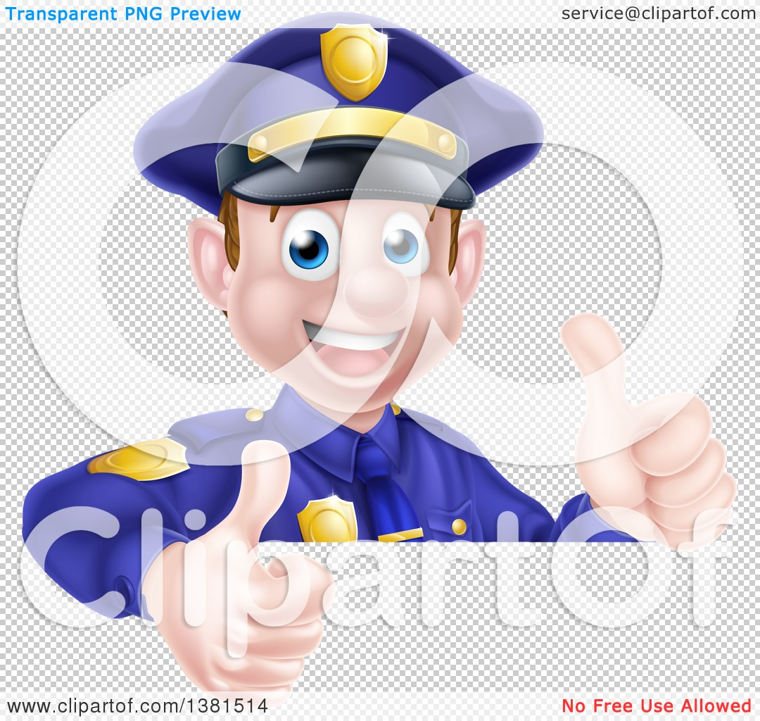 clipart of a cartoon happy caucasian male police officer giving