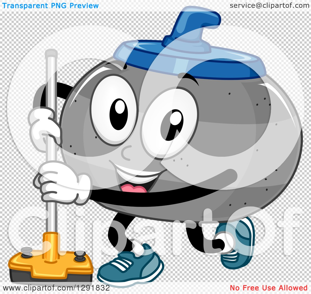 Clipart of a Cartoon Happy Curling Stone Character with a Broom ...