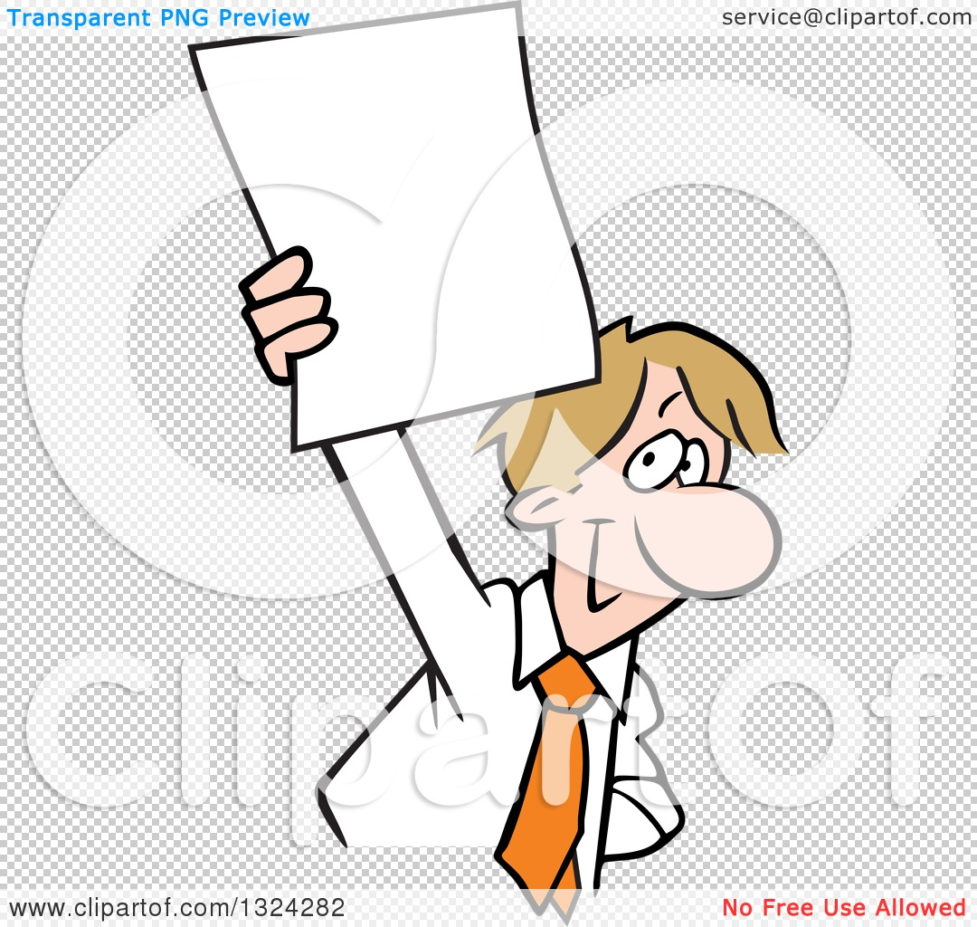 Clipart of a Cartoon Happy Dirty Blond Caucasian Business Man – Blank Document Free