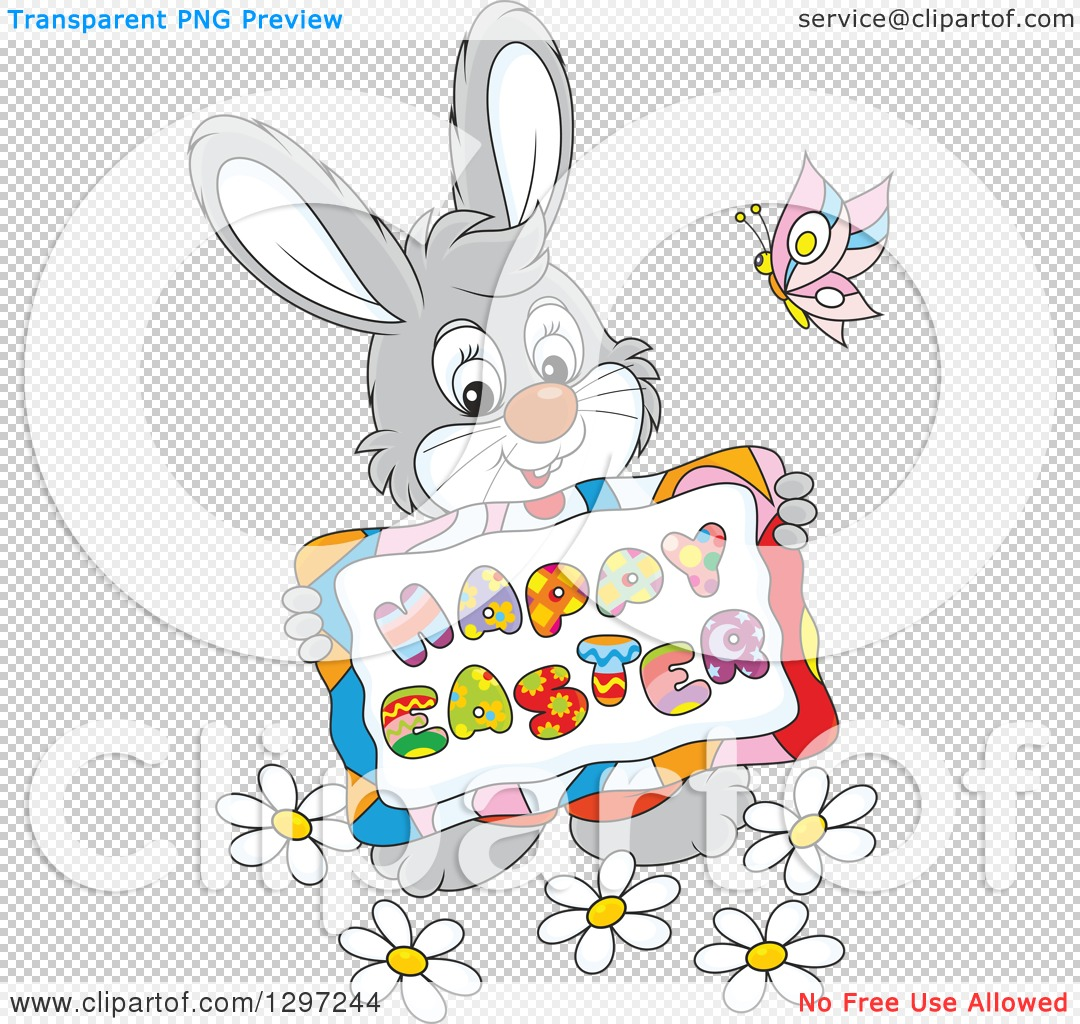 Clipart of a Cartoon Happy Gray Bunny Holding a Happy Easter Sign ...