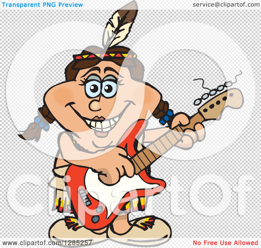 Clipart of a Cartoon Happy Native American Woman Playing an ...