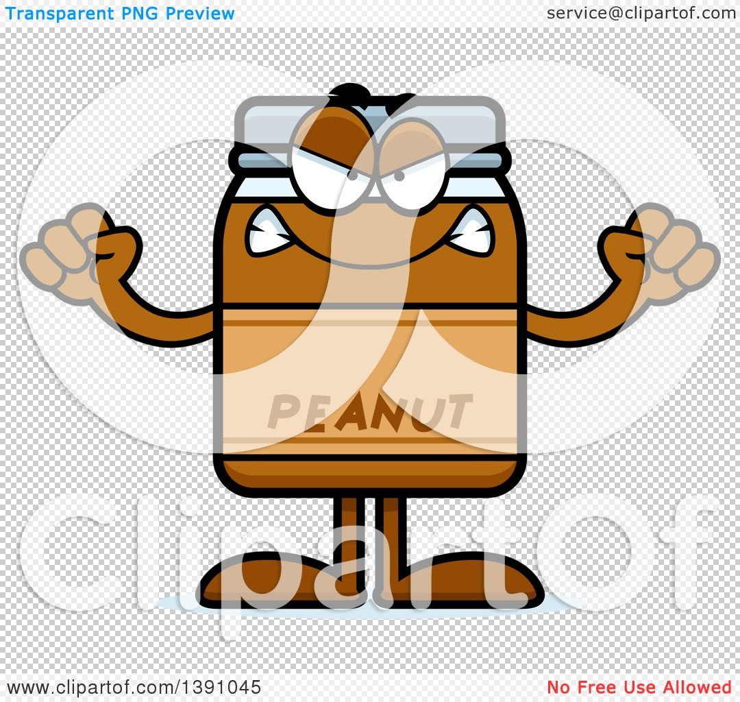 Clipart of a Cartoon Mad Peanut Butter Jar Mascot Character ...