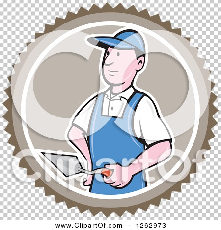 Clipart of a Cartoon Male Bricklayer with a Trowel in a Brown ...