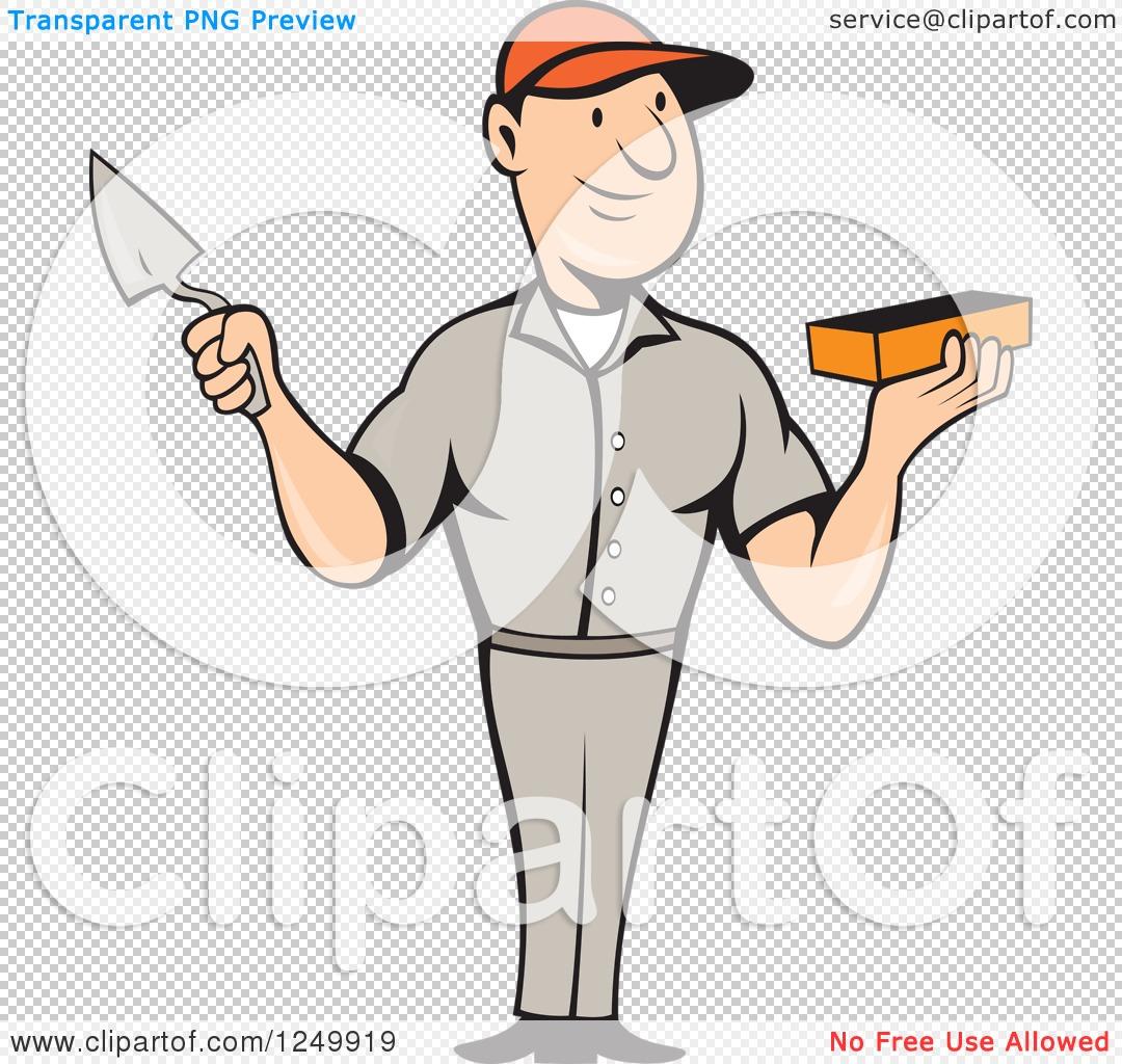 Mason Trowel Clip Art Cartoon : Clipart of a cartoon male mason worker holding brick and