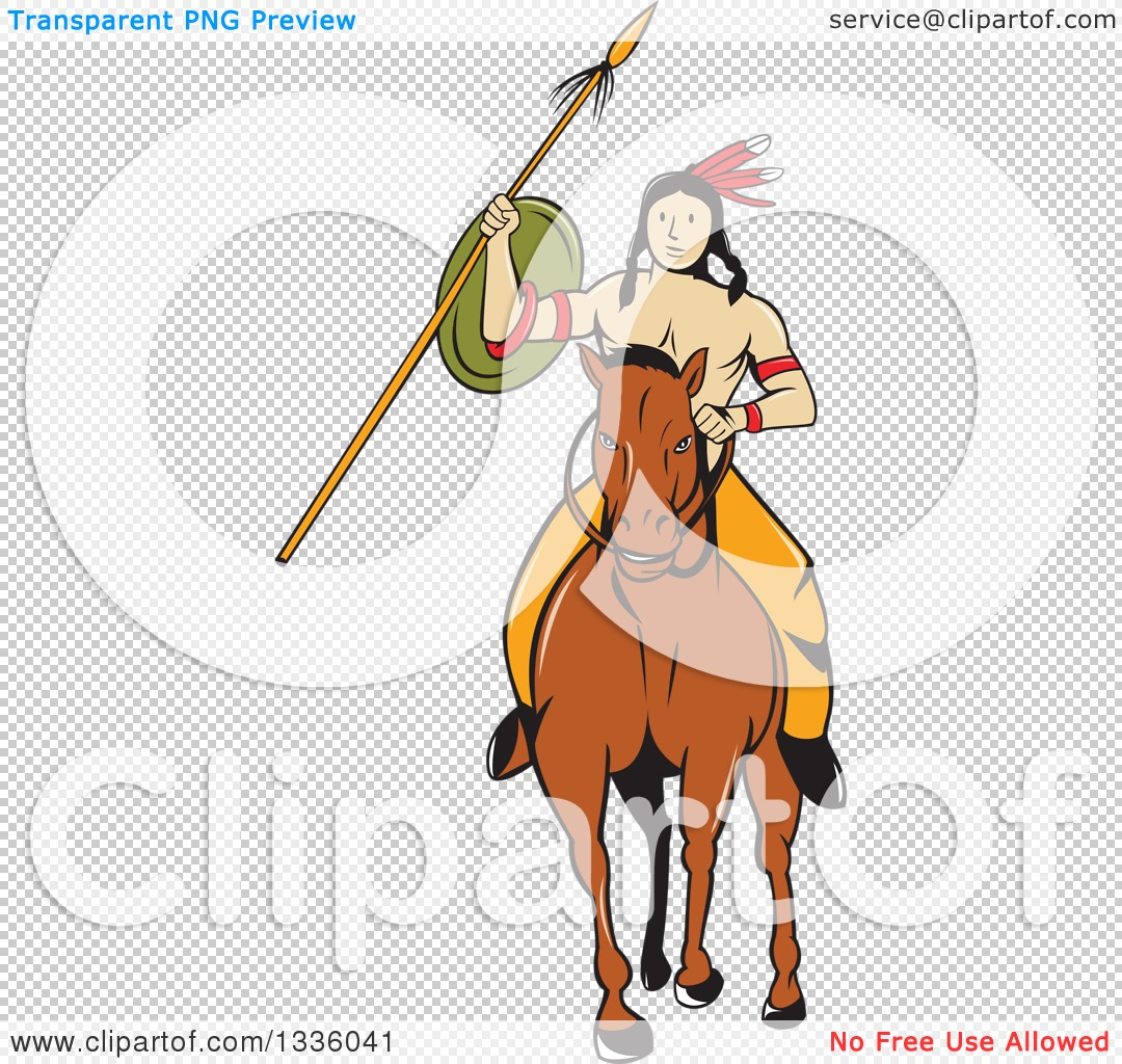 Clipart of a Cartoon Native American Indian Brave Holding a Spear ...