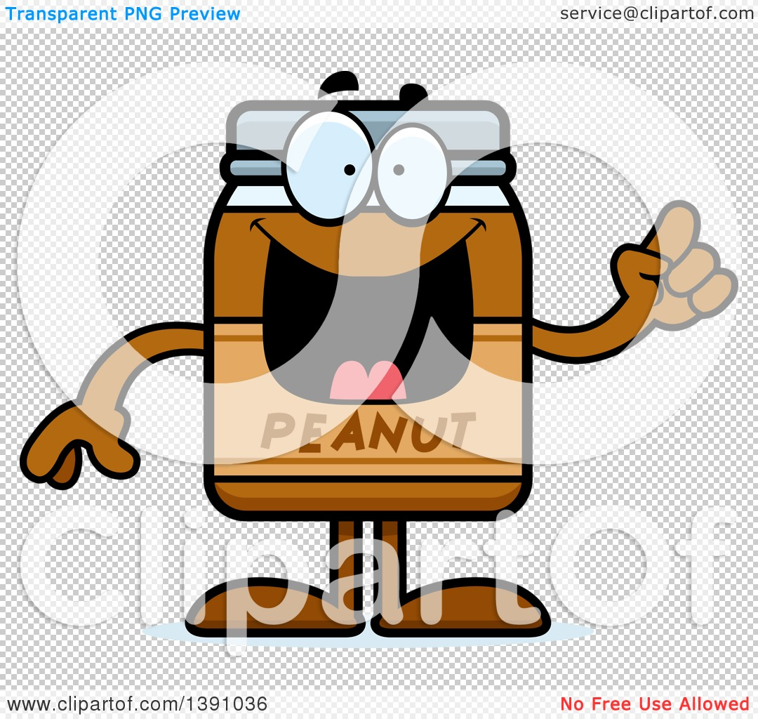 Clipart of a Cartoon Peanut Butter Jar Mascot Character with an ...