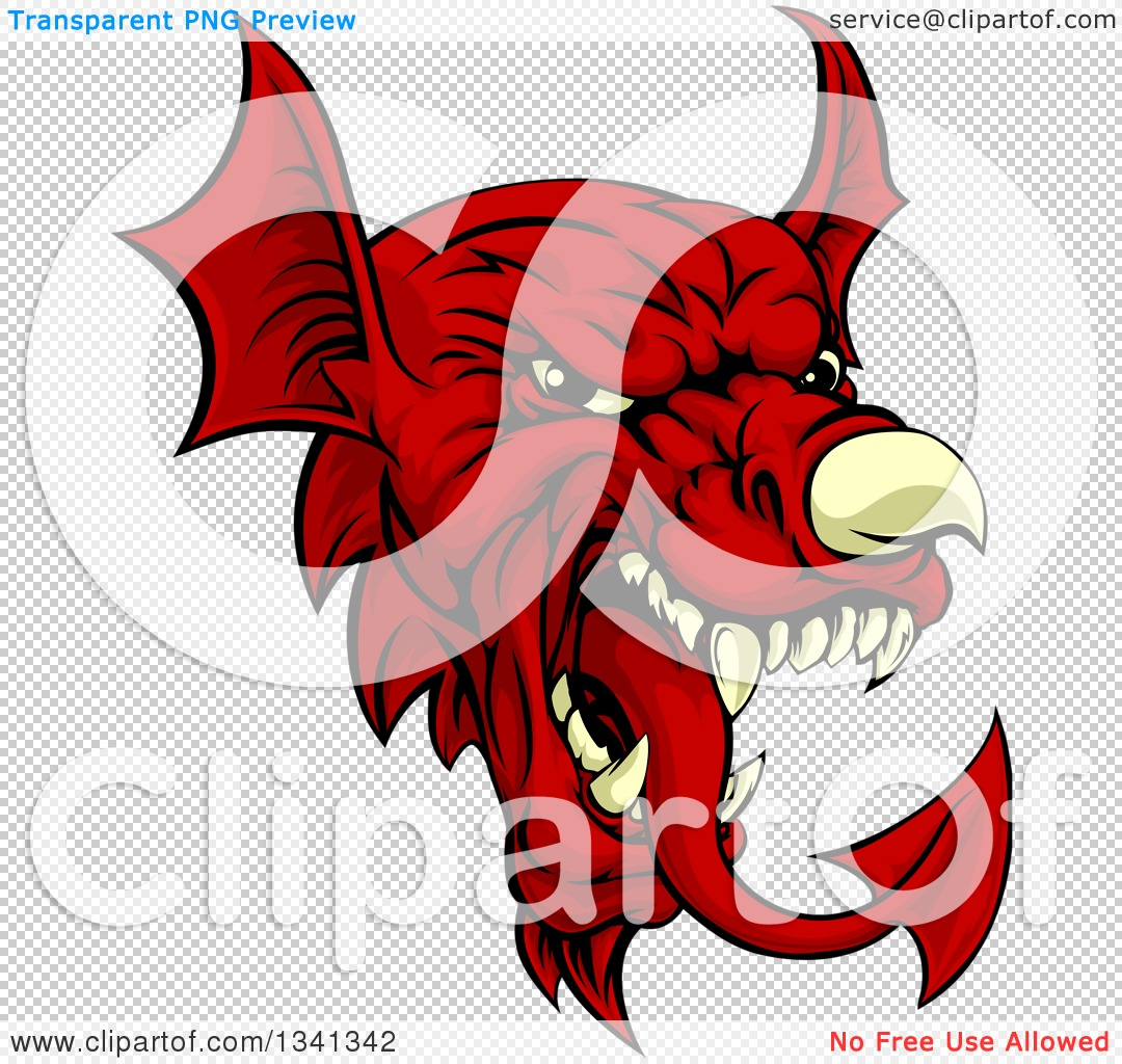 Clipart of a Cartoon Red Welsh Dragon Mascot - Royalty Free Vector ...