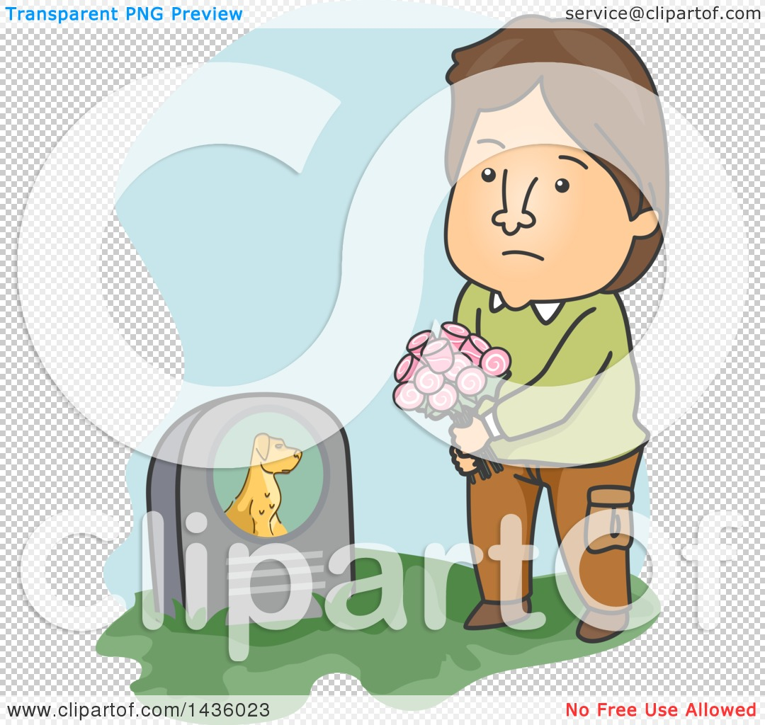 Clipart Of A Cartoon Sad Brunette Caucasian Man Visiting His Pet
