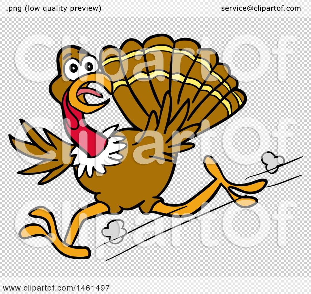 clipart of a cartoon scared turkey running and looking back rh clipartof com
