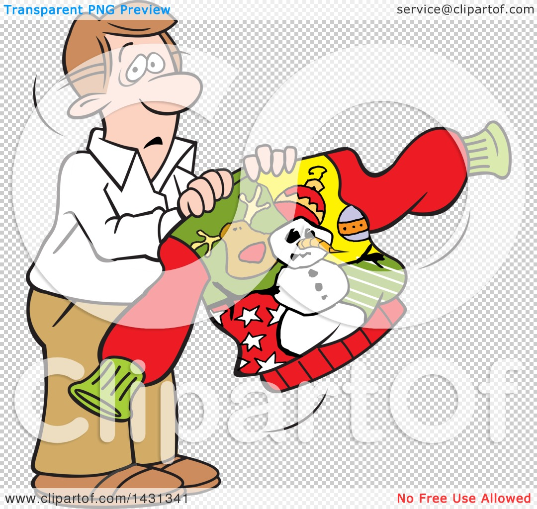 Ugly Christmas Sweater Cartoon.Clipart Of A Cartoon Unhappy Caucasian Man Holding An Ugly