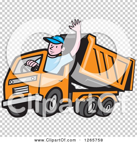 Clipart of a Cartoon White Male Dump Truck Driver Waving - Royalty ...