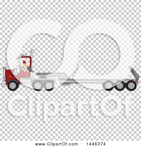 Clipart of a Cartoon White Male Truck Driver Backing up a Semi ...