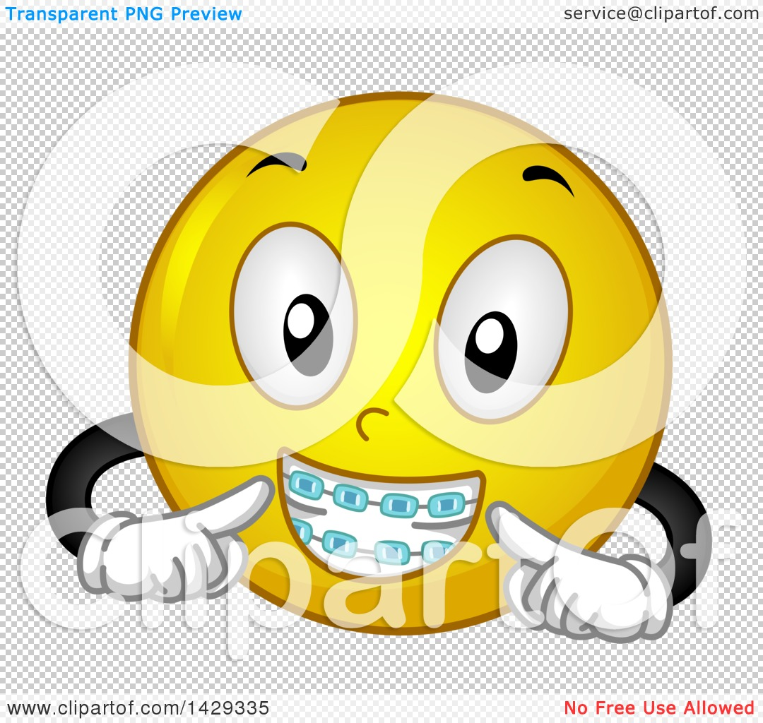 Clipart of a Cartoon Yellow Emoji Smiley Face Wearing Braces ...